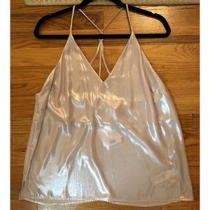 Topshop Strappy Metallic Tank with Ring Detail